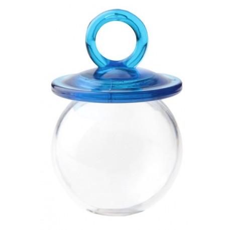 Boite Dragées Tétine Turquoise Tranparente 6.7 cm les 4