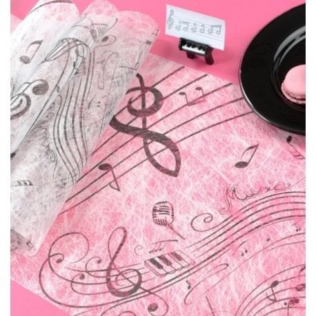 Chemin de table musique intissé blanc