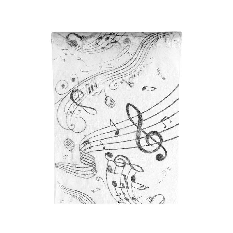 Chemin de table musique intiss blanc - Chemin de table noir et blanc ...