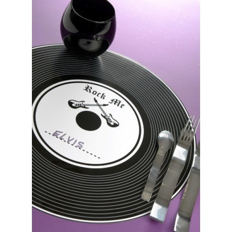 Set de Table Disque Vinyle Noir Rock'n Roll 34 cm les 6