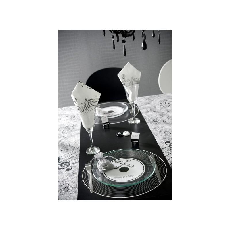 set de table disque vinyle noir rock 39 n roll 34 cm les 6. Black Bedroom Furniture Sets. Home Design Ideas