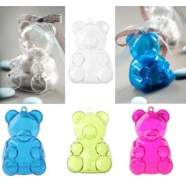 Boîte à dragées ours plexi transparent couleur les 4