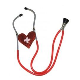 Stéthoscope Infirmière Avec Coeur Rouge Pailleté