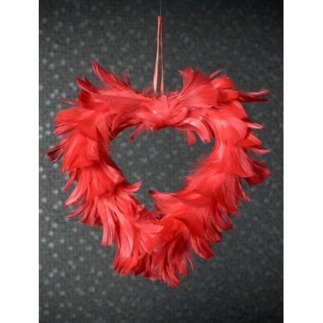 Coeur Plumes Rouge 20 cm Déco A Suspendre