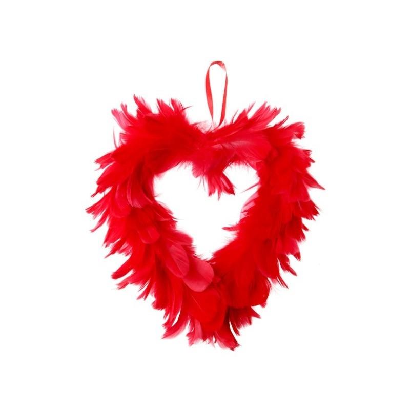 Coeur Plumes Rouge 20 cm Déco A Suspendre  Baiskadreamscom