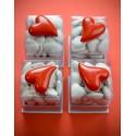 Coeur autocollant rouge design 3 cm les 6