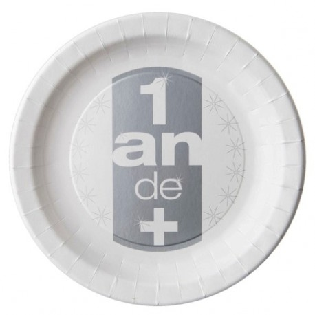 10 Assiettes Anniversaire 1 an de + Carton Blanc 23 cm