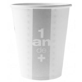 10 Gobelets Anniversaire 1 an de + Carton Blanc Cassé