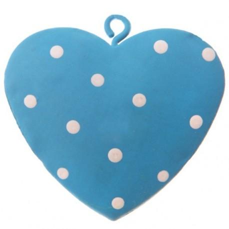 Coeur metal turquoise a pois deco 4 cm les 4