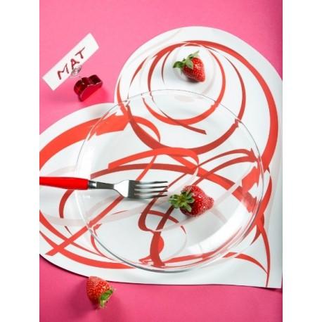 6 Sets de Table Coeur Blanc Coeur Design 38 cm