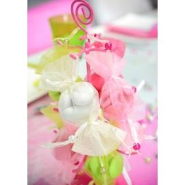 Sachet à dragées bonbon organdi couleur les 6