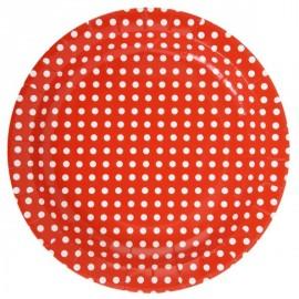Assiette carton rouge à pois blanc 23 cm les 10- Assiette à pois