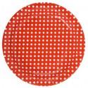 Assiettes Carton rouge à Pois blanc 23 cm les 10