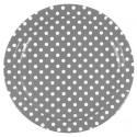 Assiettes carton gris à pois blancs 23 cm les 10