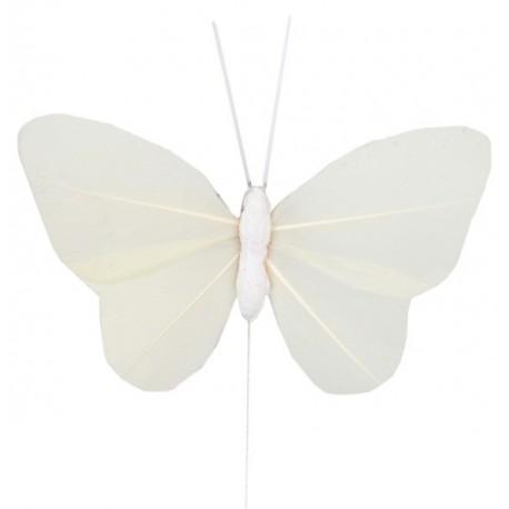 6 Papillons Ivoire Uni en Plumes sur Tige