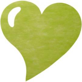 Set de table coeur vert amande intissé les 50
