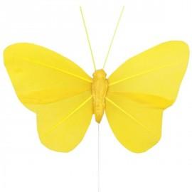 6 Papillons Jaune Uni en Plumes sur Tige decoration festive