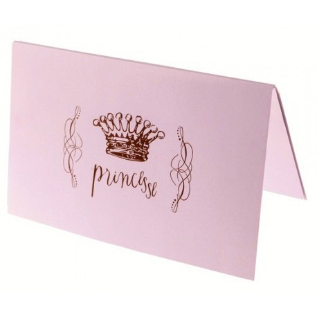 Cartes Princesse Rose x6 Cartes Invitation ou Menu