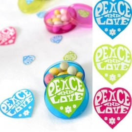 50 Stickers Hippie Coeur Peace and Love Couleur 5 cm
