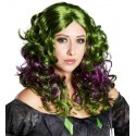 Perruque Gothique Verte Violette Swamp Witch Femme