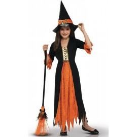 Déguisement Enfant Sorcière Orange Noire Gothique Fille