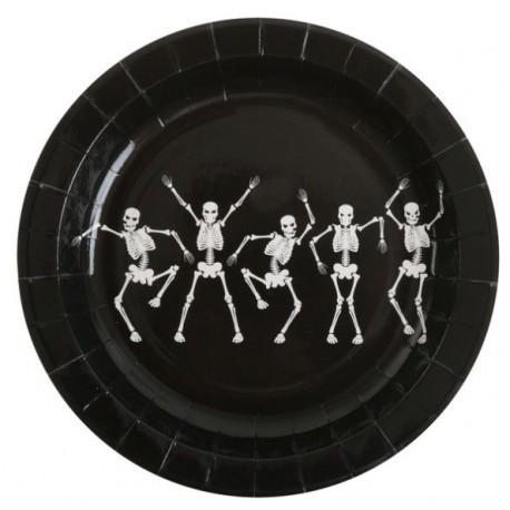 Assiette Squelette Dansant Carton Noir 23 cm les 10