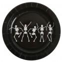 Assiettes Squelette Dansant Carton Noir 23 cm les 10
