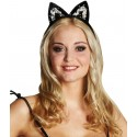 Serre Tete Chat Oreilles de Chat Noir A Sequin Adulte