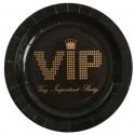 Assiettes VIP Carton Noir Or Rondes 23 cm les 10