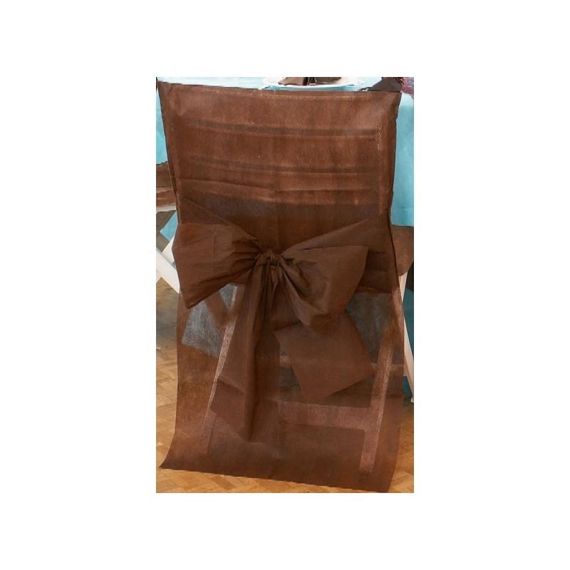 housse de chaise intiss chocolat avec noeud x10. Black Bedroom Furniture Sets. Home Design Ideas