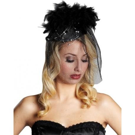 Chapeau chic noir à voilette perles plumes femme
