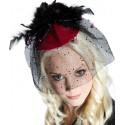 Mini chapeau chic pink a voilette perles plumes femme