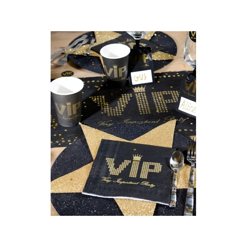 serviette de table vip papier noir or les 20. Black Bedroom Furniture Sets. Home Design Ideas