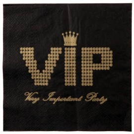 Serviettes de Table VIP Papier Noir Or les 20