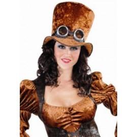 Chapeau Steampunk Haut de Forme Velours Marron Adulte