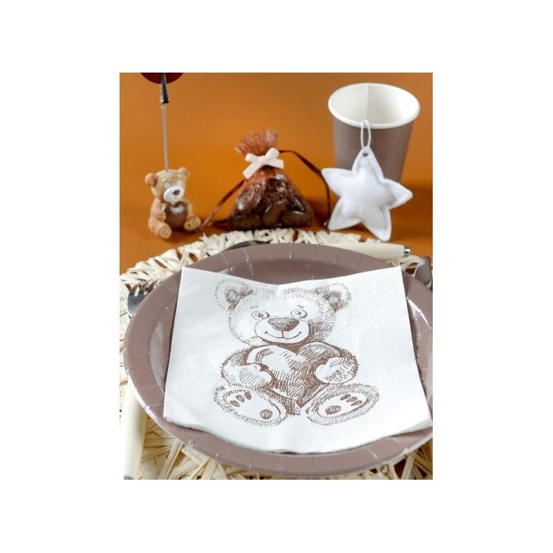 Serviette de table ourson blanc cass les 20 - Serviettes de table ...