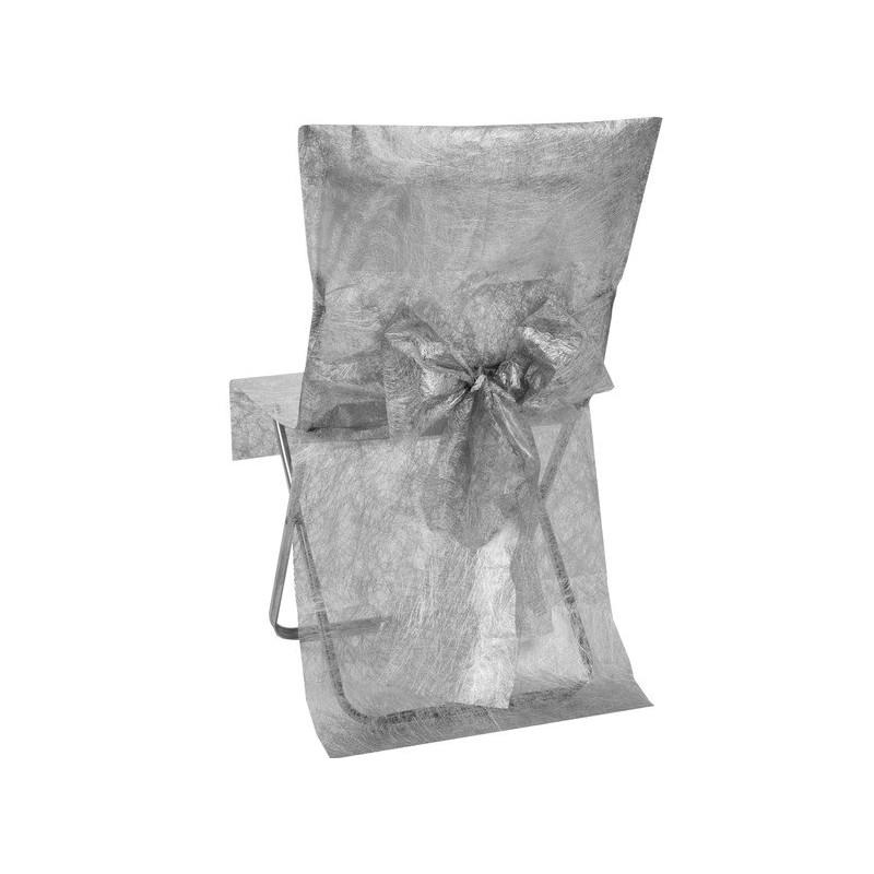 housse de chaise fanon argent intiss avec noeud les 2. Black Bedroom Furniture Sets. Home Design Ideas