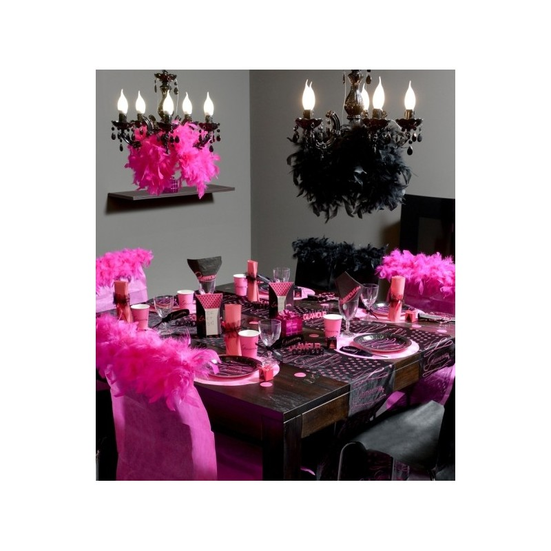 Serviette de table glamour noir fuchsia en papier les 20 for Deco serviette de table en papier