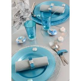 Set de table paillete bleu et argent