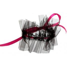 Ronds de serviette glamour noir fuchsia les 6