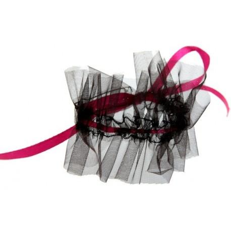 Rond de serviette glamour noir fuchsia les 6