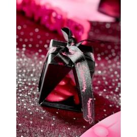 Ruban Glamour Noir fuschia Satin 10 mm