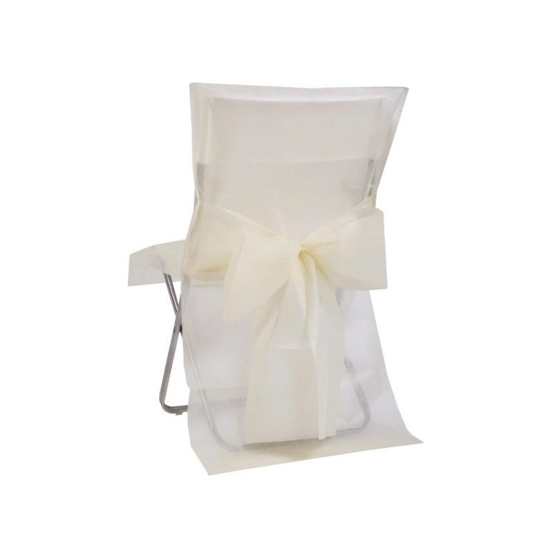 Housse de chaise intiss ivoire avec noeud les 10 d co - Housse de chaise plastique ...