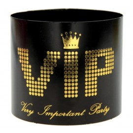 Ronds de Serviette VIP Carton Noir Or les 6