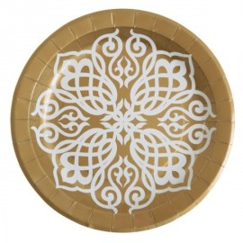 Assiette Motif Oriental carton or 23 cm les 10