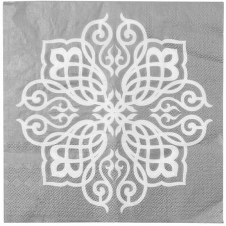 Serviette de table Motif Oriental argent les 20