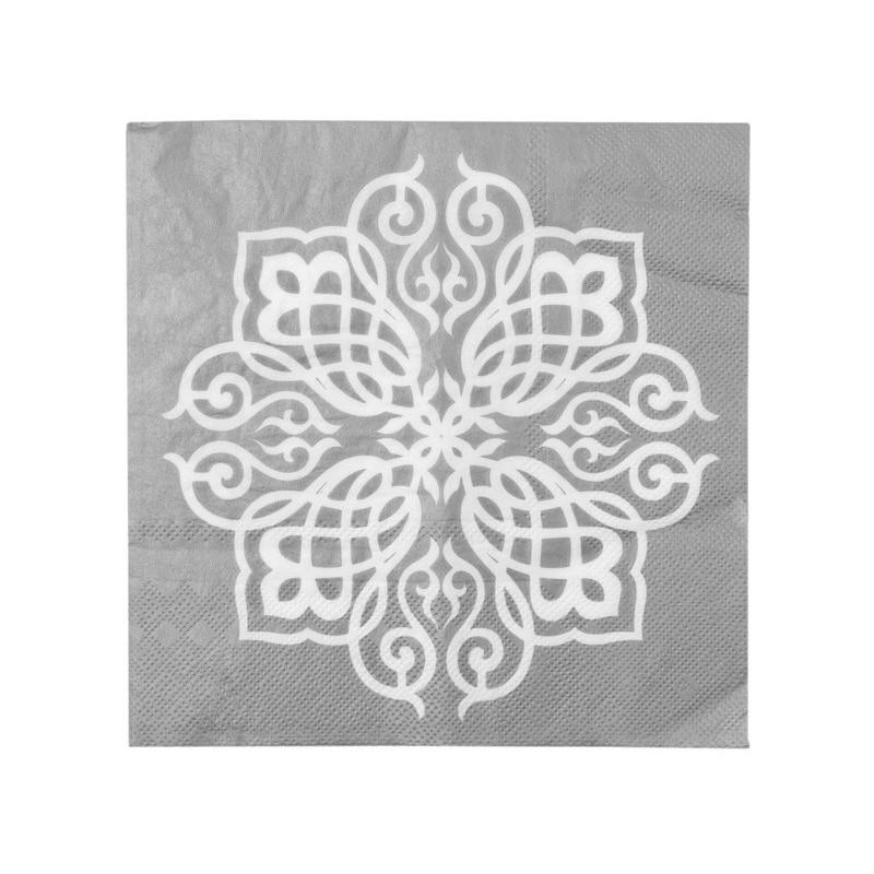Serviette de table motif oriental argent les 20 - Motif oriental a imprimer ...