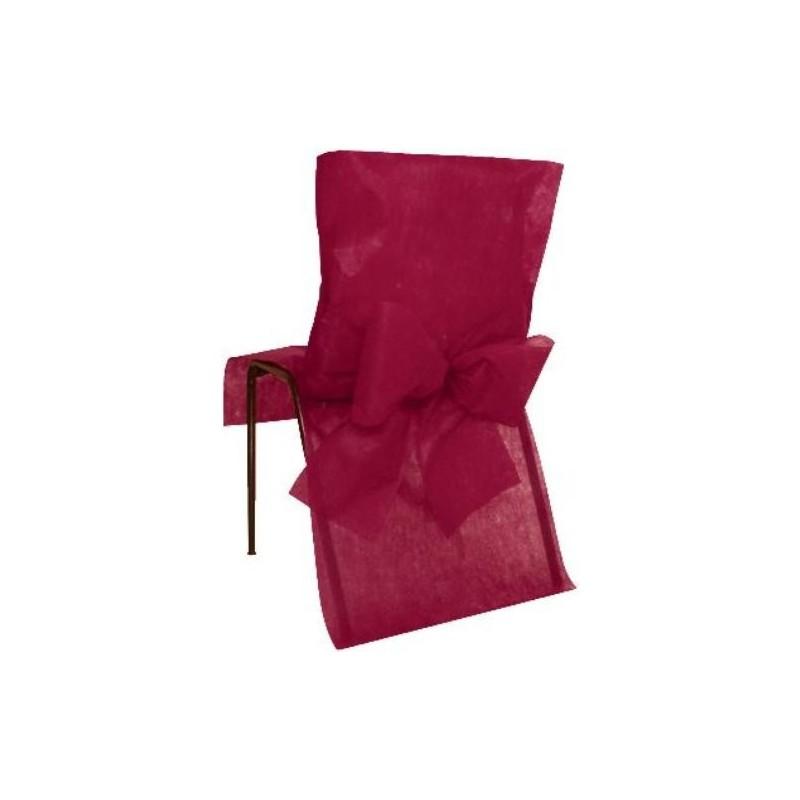 housse de chaise intiss bordeaux avec noeuds intiss tissu non tiss d coration mariage et f tes. Black Bedroom Furniture Sets. Home Design Ideas