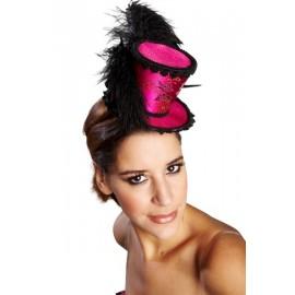 Mini chapeau haut de forme burlesque pink deluxe femme