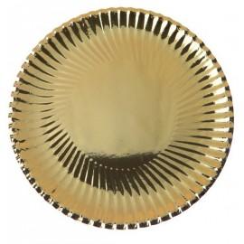 Assiette carton metallise or 30 cm brillant les 10